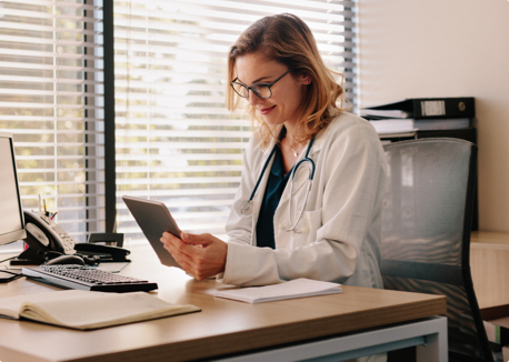 Medical Provider Working on Tablet