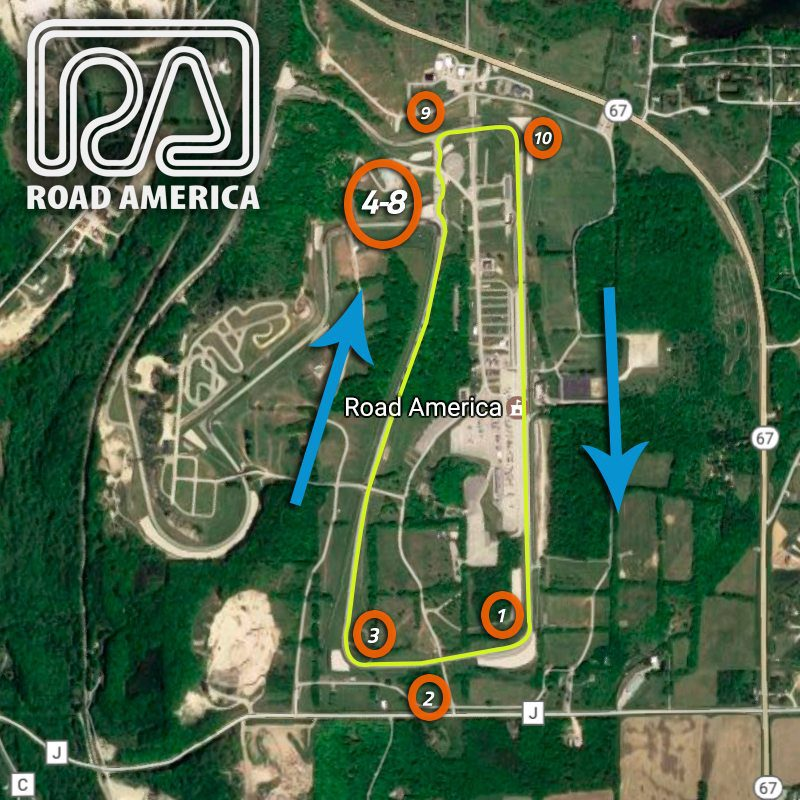 aerial track map of road america 10 turn configuration - xtreme xperience